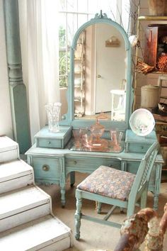 such a beautiful vanity! I might want to paint mine this color
