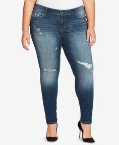 51d1882d2fa William Rast Trendy Plus Size Ripped Skinny Jeans - Blue 24W William Rast