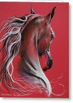 Horse with beautiful mane painting with pretty red background, Paulina Stasikowska - Поиск в - Just For You Prophetic Art Horse Drawings, Animal Drawings, Art Drawings, Arte Equina, Horse Artwork, Prophetic Art, Pintura Country, Pastel Art, Equine Art