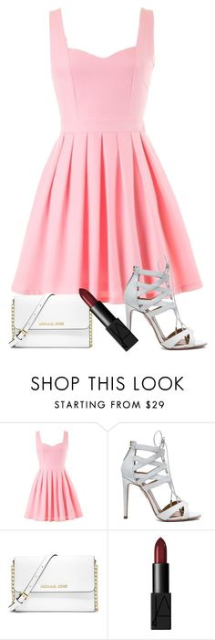 """Dark Lips"" by chloeandkyanna ❤ liked on Polyvore featuring Aquazzura, MICHAEL Michael Kors and NARS Cosmetics"