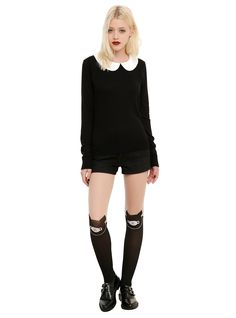 Black & Ivory Lace Button Girls Pullover Top,