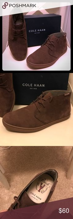 Cole Haan Pinch Weekender Chukka Color: Chestnut Nubuk Name: Pinch Wkndr. Chukka Size: 8 never worn, without tags. Amazon Receipt still in box. In perfect condition! Wrong size for my husband, and we missed the return window! Cole Haan Shoes Chukka Boots