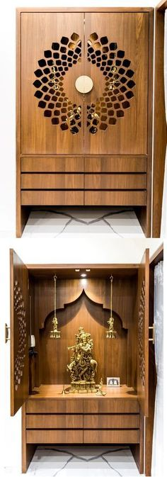 Luxurious Penthouse Interior design is showcase of the bond between the traditional and the modern minimalistic lifestyle Pooja Room Door Design, Home Room Design, Home Interior Design, House Design, Interior Decorating, Interior Doors, Wooden Temple For Home, Temple Design For Home, Home Temple