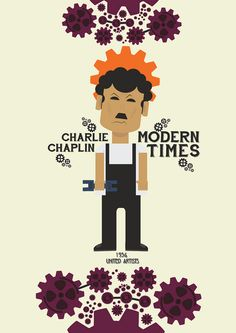 Modern Times ~ Minimal Movie Poster by Stefano Reves Minimal Movie Posters, Alternative Movie Posters, Angels In Heaven, Charlie Chaplin, Modern Times, Minimalist Poster, Love Book, Films, Movies