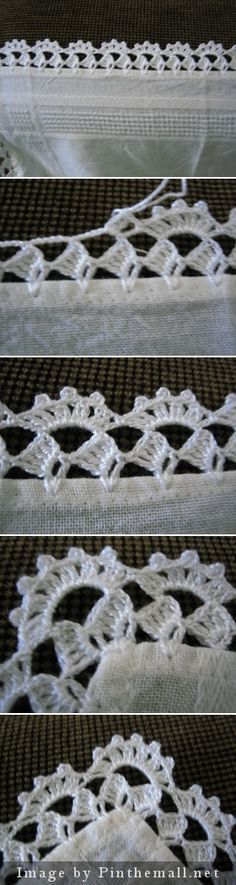Crochet edging with corner ~~ filomena-crochet-. [ Crochet edging with corner- my mother used to do so much of this before her arthritis became too intense, Crochet edging wirh corner ~~ - a grouped images picture, Link is expired but I Crochet Boarders, Crochet Edging Patterns, Crochet Lace Edging, Thread Crochet, Crochet Trim, Crochet Designs, Crochet Crafts, Crochet Doilies, Crochet Stitches