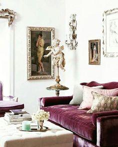 Purple couch living room pillow heaven living room purple sofa home decor e purple couch purple Home Living, My Living Room, Small Living, Living Room Decor, Living Spaces, Modern Living, Modern Wall, Apartment Living, Apartment Design