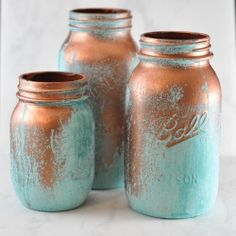 Use the Modern Masters reactive copper paint to create these weathered-looking mason jars. It's easier than you think!