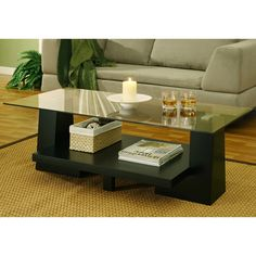 AT MEIJER!  Felicia Rectangular Glass Top Coffee Table with Black Base