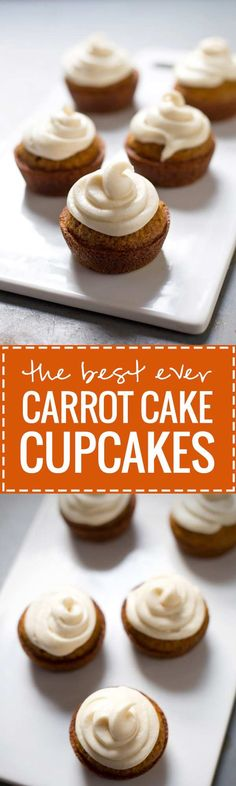 (Really the best! ) The Best Carrot Cake Cupcakes with Cream Cheese Frosting - lightly spiced, perfectly moist, and oh that cream cheese frosting Carrot Cake Cupcakes, Best Carrot Cake, Wedding Cakes With Cupcakes, Cupcake Cakes, Carrot Cakes, Baking Cupcakes, Cupcakes Fall, Cake Baking, Carrot Cupcake Recipe