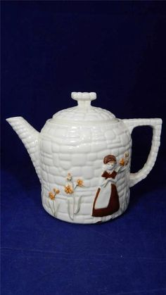Early Last Century Porcelier Manufacturing Co Vitreous China Cobblestone Teapot