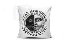 White Valar Morghulis 16 x 16 - Throw Pillow - Square Pillow - Decorative Pillows