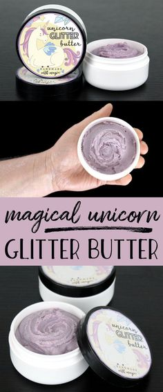Magical Unicorn Glitter Butter Recipe for a more magical summer! This magical unicorn glitter butter recipe is perfect DIY for parties and summer festivals! Scented with a sweet candy crush fragrance oil, this lavender colored unicorn glitter butter leaves a lovely layer of iridescent sparkly glitter on skin wherever it's applied! Makes a great gift idea for teen girls! #diy #glitter #giftsfortweens #giftsforteens #bodybutter #crafts #skincare #beauty
