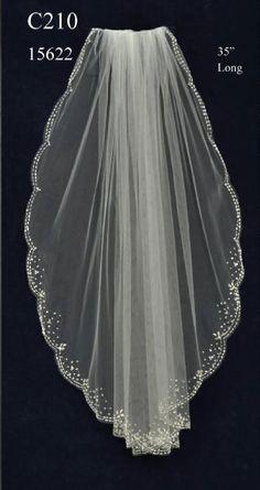 Beautifully Beaded Fingertip Length Wedding Veil C210 - Affordable Elegance Bridal -