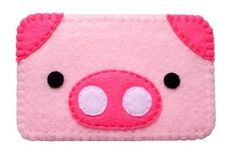 Cute felt piggy cell phone case With Mustache por cgladue en Etsy