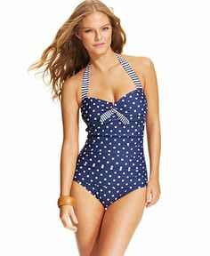 Tommy Bahama Ruched One-Piece Swimsuit - Swimwear - Women - Macy's