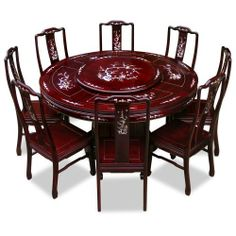60in Rosewood Round Dining Table with 8 Chairs - Mother of Pearl Design - Cherry…