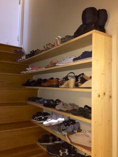 häusle & gardens 40 Awesome Designs For Interior Shutters Buying Basics Window shu Stairway Storage, Basement Stairway, Basement Steps, Shoe Storage On Stairs, Shoe Rack For Stairs, Shoe Storage Small, Storage Spaces, Shoe Shelves, Shelving