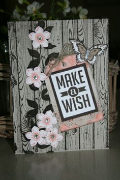 make a wish -  Vicki Hodgman (Qld. Australia), Card using Hardwood Background, Perfect Pennants Stamp Set, Petite Petals Stamp and punch, Summer Silhouettes, Tag Topper.Butterfly punches and stamp set Cardstock Sahara Sand, Early Expresso, Whisper White. DSP Sweet Sorbet Saleabration set. more info on my blog:http://cardsonthetablewithvicki.blogspot.com.au/2014/02/make-wish.html