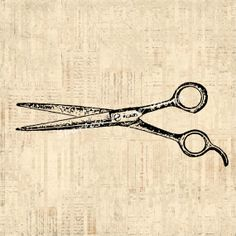 Antique Hairdresser Shears Print Salon Barber Scissors Wall Art Vintage Print with Vintage Script Paper Background No.1450 B4 8x8 8x10 11x14...