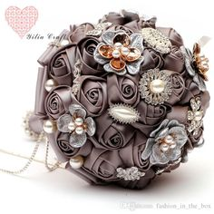Luxury Romantic Crystal Brooches Bridal Wedding Bouquet Decor Brooch bouquet Hand Made Satin Rose Bride Flowers Bouquets wedding favors Love Chocolate