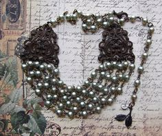 Vintage Chippy Shabby Faux Pearl Multi Chain Necklace With Rusty Black Filigree