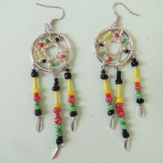 rasta coloured dreamcatcher earings by TypsyGypsyCreations on Etsy, $17.50