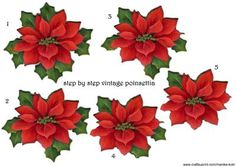 Beautiful vintage poinsettias step by step, to make your own christmas card!