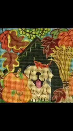 Julie mar golden retriever in fall needlepoint canvas