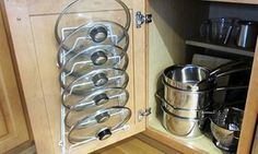 cabinet organization Evelots Storage Rack for Pot and Pan Lids Functional organizer rack for pot lids Helps save space in kitchen cupboards Easy to install Lightweight des Pan Organization, Kitchen Cabinet Organization, Kitchen Cupboards, Kitchen Fixtures, Kitchen Backsplash, Organizing Ideas For Kitchen, Small Kitchen Decorating Ideas, Diy Kitchen Ideas, Kitchen Pantries