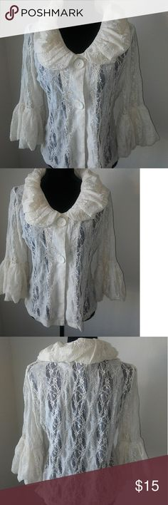 Tres Jolie M Lace Puff collar & 3/4 sleeve Tres Jolie M Lace Puff collar & sleeve w/ two button closure  Puff Collar  Puff 3/4 sleeve  two button(oversize) closure with snap  no rips, no snags  see pictures Tres Jolie Tops Button Down Shirts