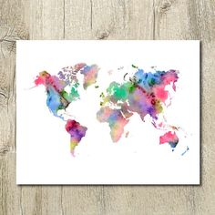 Printable watercolor world map wall decor. Instant, digital download. PLEASE…