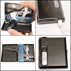 Metal Silver Cigarette Case w/ USB Lighter Rechargeable Great Christmas Gift New #SunwayLighting