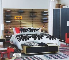 mandal headboard from ikea (use ad shelving system along the length of his bed?)