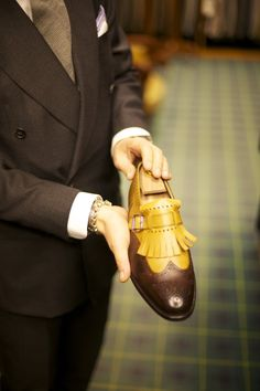 takeitofftherack: From my visit to Al Bazaar last year. Here Gianpaolo Alliata is showing me the shoe that has it all: monk, brogue and tassels. A favorite to Lino. More pictures from the visit will come.