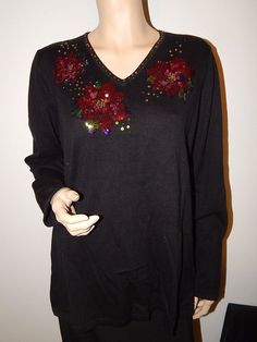 Womens Black Holiday Christmas Sweater Large Sequined Poinsettia New #QuackerFactory #VNeck #Christmas