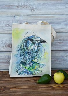 Hand made shoulder tote bag. Hand painted. A unique design. With reusable bags becoming a handbag essential, this tote bag will take you from