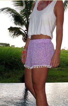 Trendy Popular Casual Summery Feminine Shorts w/Pom Pom Fringe 20 Styles