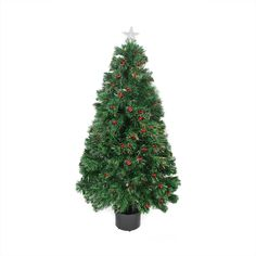 3' Pre-Lit Color Changing Fiber Optic Christmas Tree with Red Berries * More forbidden discounts at the link of image : Christmas Trees