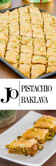 Pistachio Baklava pastry recipe, layers of phyllo dough filled with honey and loads of pistachios.