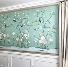 A favorite corner from a dining room we designed a few years ago. Returning to projects and remembering how much we still love them is like visiting an old friend! Can't wait to work on our next room with these clients! #diningroom #chinoiserie #millwork #custom #modernmix #traditional #classic #updated #silk #curtains #chairrail #chainlink #accentwall #handpainted #greensboro #design #interiors #interiordesign #southernstyle #decor
