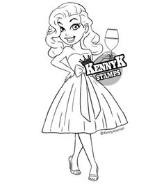 Stylish party girl paper crafts, digi & clear stamps for scrapbooking, card making ideas, crafting, cardmaking and papercraft designs - shop KennyK Stamps! Girl Birthday Cards, Cardmaking And Papercraft, Coloring Pages To Print, Scrapbook Paper Crafts, Scrapbooking, Digi Stamps, Clear Stamps, Adult Coloring, Aurora Sleeping Beauty