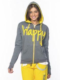 Peace Love World Clothing | I am Happiness L2L Chrome Zip-Up Unisex Hoodie - HOODIES - WOMEN