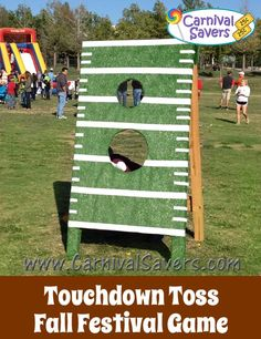 Touchdown Toss - Fall Festival or Carnival Game Fun Fall Festival Game for all ages – Touchdown Toss! Best Picture For diy carnival decorations For Your Taste You are looking fo Halloween Carnival Games, Diy Carnival Games, Carnival Booths, Carnival Ideas, Carnival Tent, Spring Carnival, Carnival Prizes, Carnival Mask, Church Carnival Games