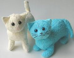 Making terrycloth cats, a great starter handsewing project.