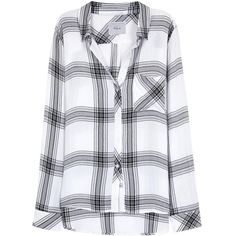 Rails Hunter monochrome plaid flannel shirt ($180) ❤ liked on Polyvore featuring tops, shirts, long sleeved, flannels, black white plaid shirt, shirt tops, tartan flannel shirt, black and white shirt and black and white flannel shirt
