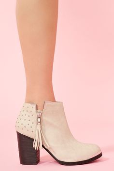 Nasty Gal Studded Ankle Boot Bone in Beige (bone)