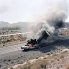 car fire, interstate 40, california, 1995 • jeff brouws