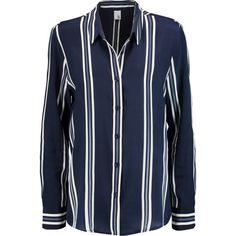 Iris and Ink Kate striped silk crepe de chine shirt (£115) ❤ liked on Polyvore featuring tops, shirts, navy, blue striped shirt, striped top, blue stripe shirt, silk top and striped shirt