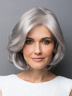 HAIR, Mature - Chin-Length Style, Silver/Grey Color (shown, Rene of Paris 'Amal' wig) Long Gray Hair, Grey Wig, Silver Grey Hair, Short Silver Hair, White Hair, Medium Hair Styles, Curly Hair Styles, Natural Hair Styles, Wig Styles