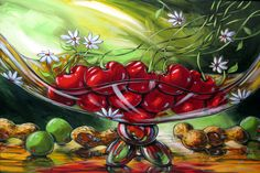 Daniel Vincent - cherries in goblet watercolor art painting